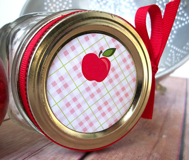 Plaid Apple Canning Jar Labels