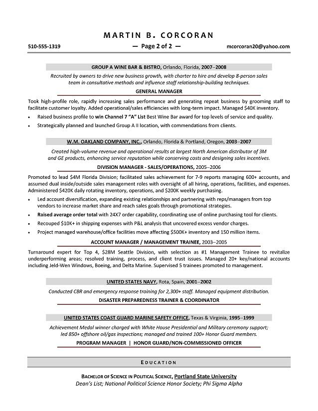sales manager resume samples sample resumes