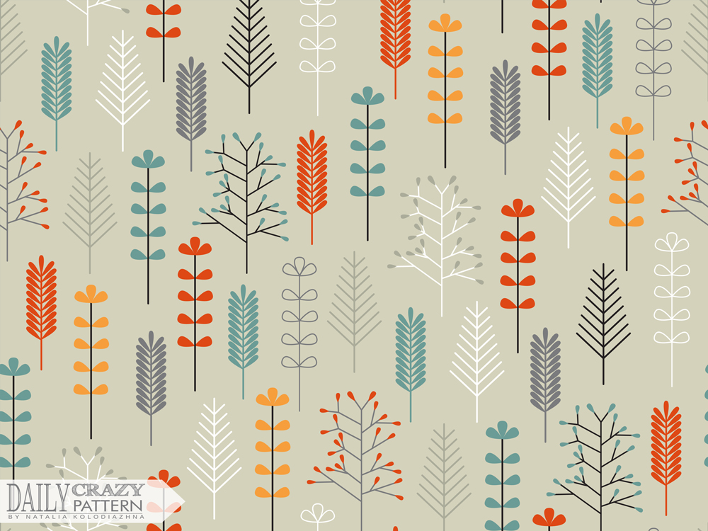 "Nice art print with colorful leaves for ""Daily Crazy Pattern"" project"