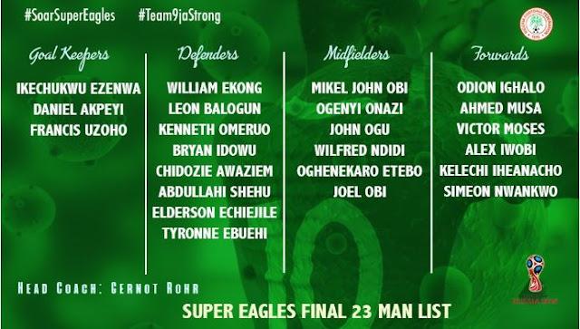 Super Eagles Final List Russia 2018