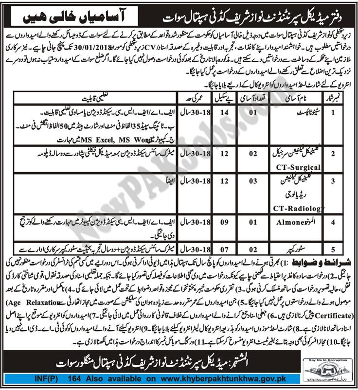 Nawaz Sharif Kidney Hospital Jobs in Manglor Swat Mashraq Newspaper ad
