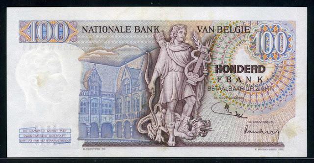 Belgium 100 Belgian francs banknote note bill