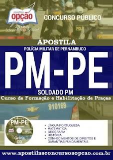 Apostila PM PE Soldado PM Grátis CD 2016 Concurso Polícia Militar de Pernambuco.