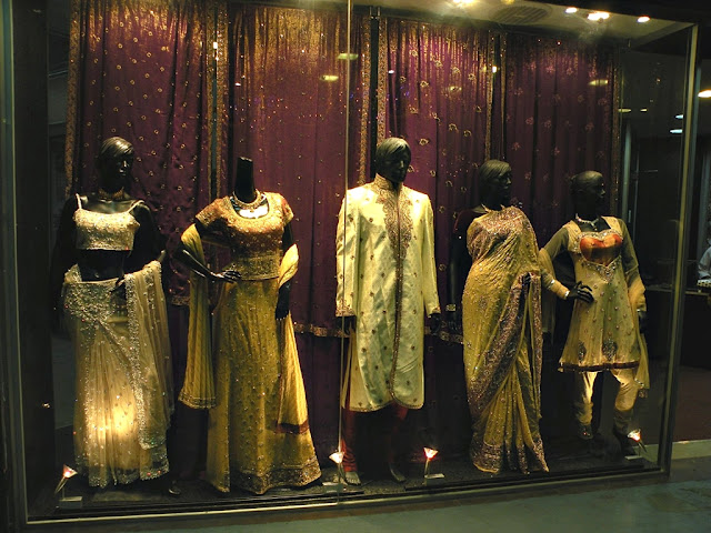 Ethnic Indian clothes on display in Little India, Singapore