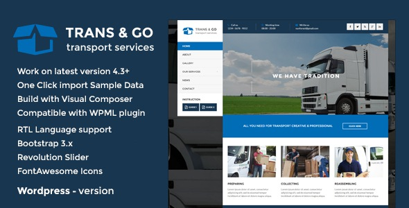 Download Premium WordPress Theme for Transport & Logistics Company Website