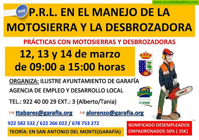 PRL en Manejo de La Motosierra y Desbrozadora en Garafía