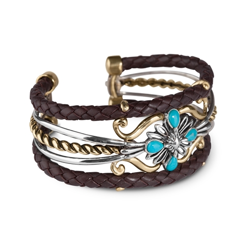 Sterling Silver, Brass and Leather Cuff Bracelet with Turquoise Gemstones