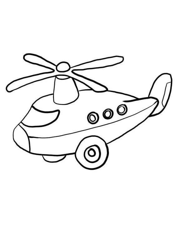 Tranh tô màu máy bay trực thăng đang bay