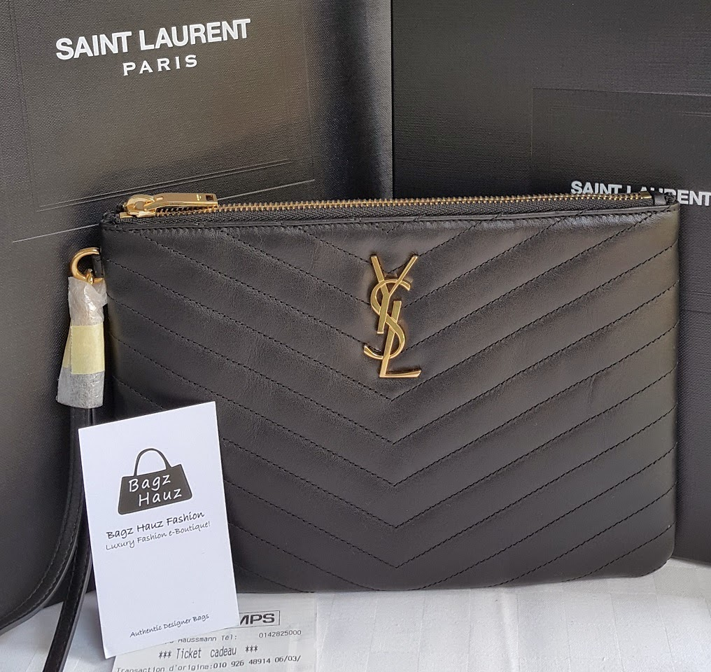 Yves Saint Laurent Patent Leather Logo Pouch Ysl Chyc
