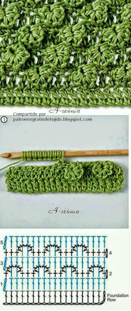 Punto escama con variante al crochet