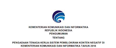 Lowongan Kerja PNS SMA SMK D3 S1 Kementerian Komunikasi dan Informatika Tahun 2018
