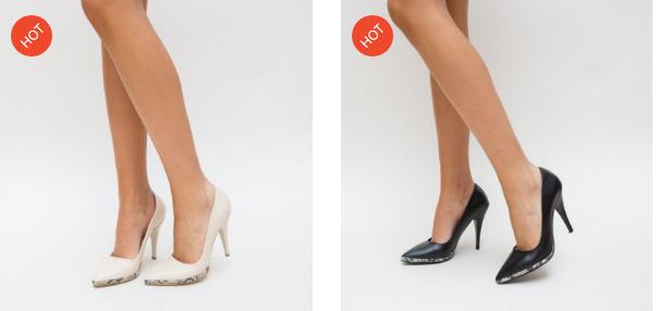 Pantofi negri, roz eleganti pentru nunta