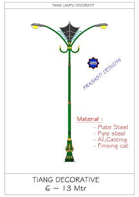 Tiang Lampu Pju Antik,Pju Oktagonal Bulat Galvanis Solar Cell