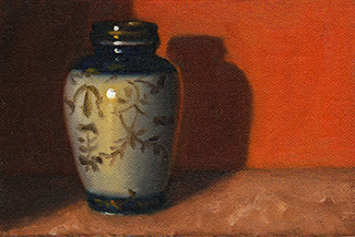 Oil painting of a small blue and white Chinese-style vase with gold decoration in front of an orange background.