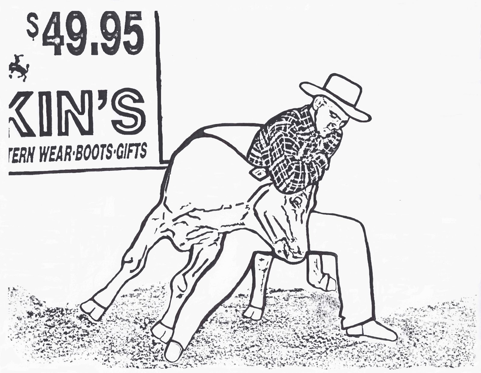 rodeo coloring pages steer wrestler color pagedancing
