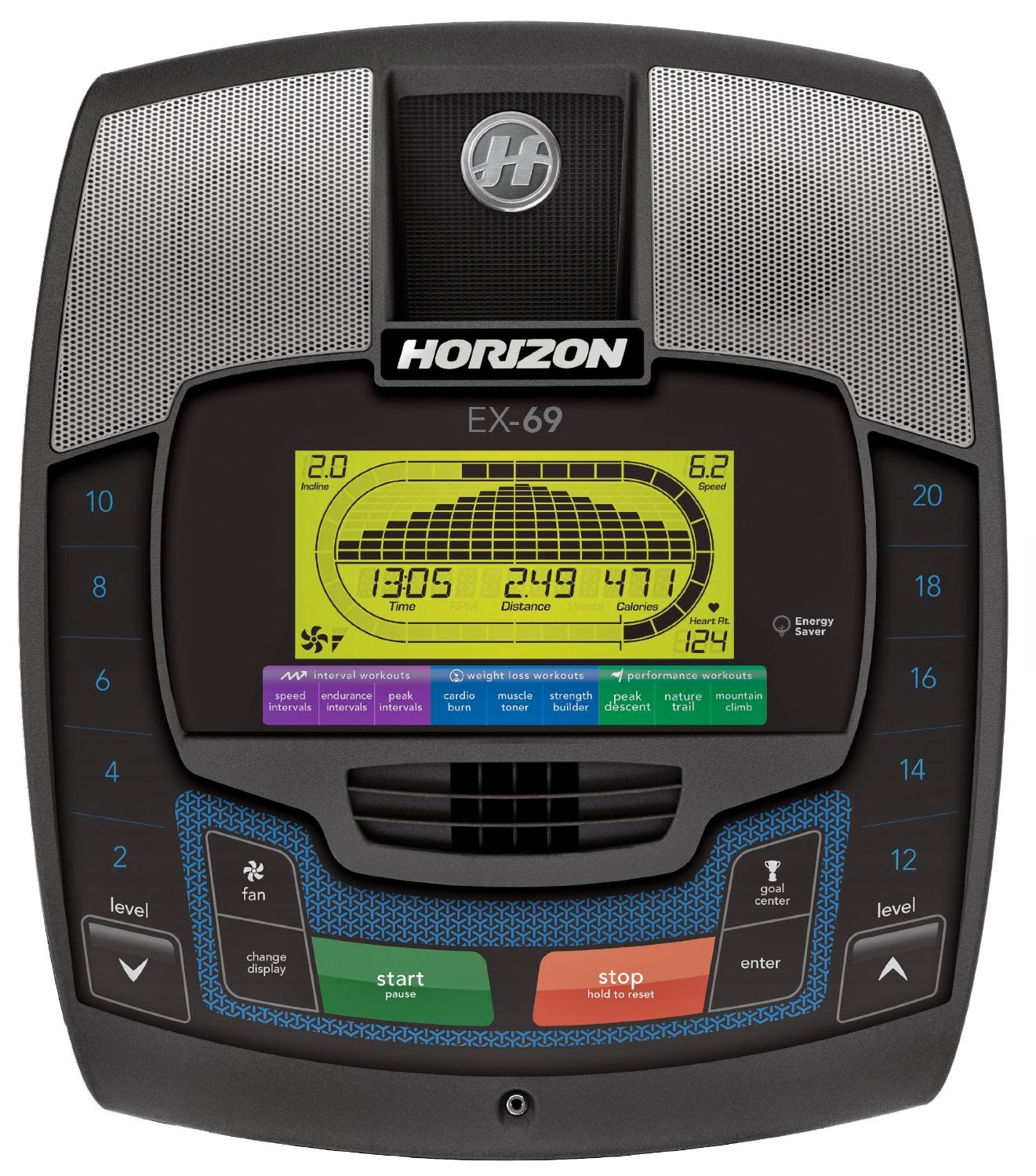 "Horizon Fitness EX 69 2 Console, difference between EX 69 2 and EX 59 2, 5.75"" green backlit LCD screen"