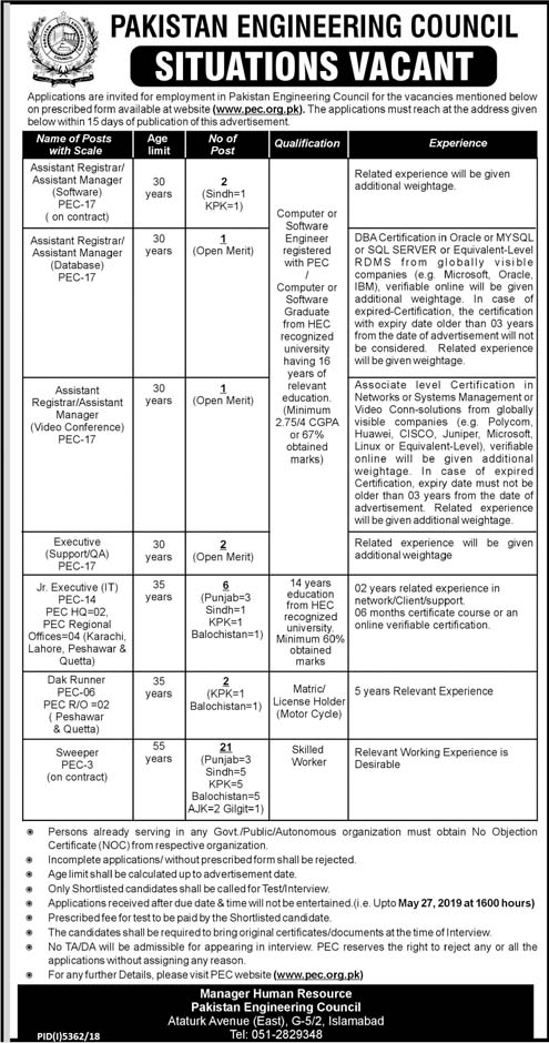 Jobs In Pakistan Engineering Council