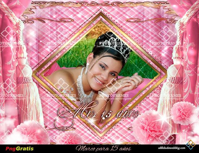 Hermoso marco para fotos de 15 años color rosa y dorado