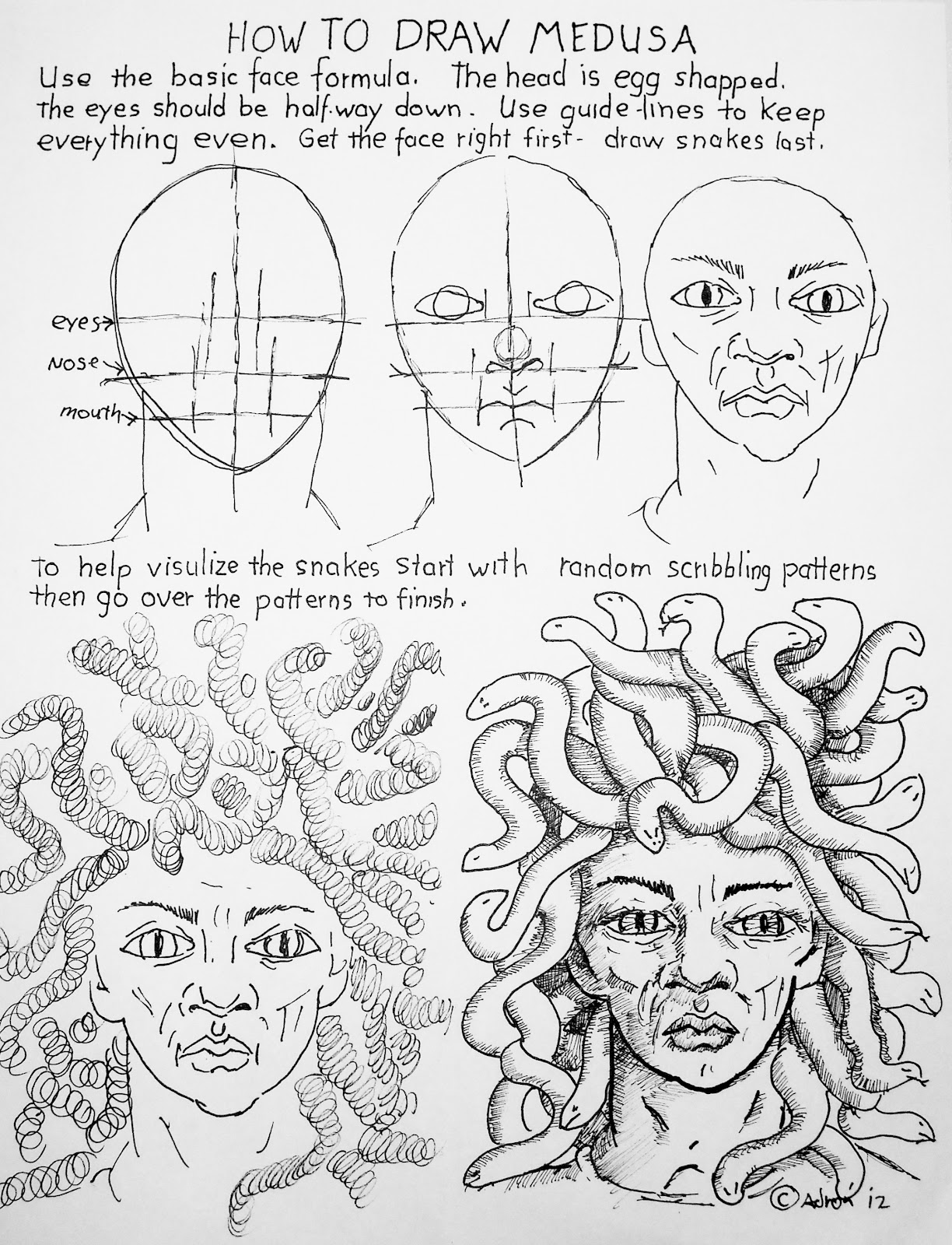How To Draw Worksheets For The Young Artist How To Draw Medusa Face With Snakes Worksheet