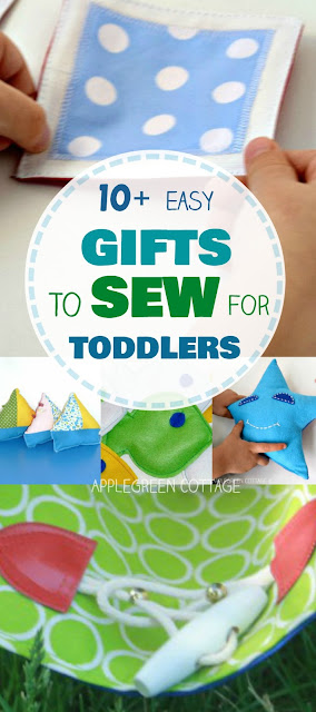 Gifts to sew for toddlers, with easy sewing tutorials and beginner patterns for handmade gifts for toddlers.