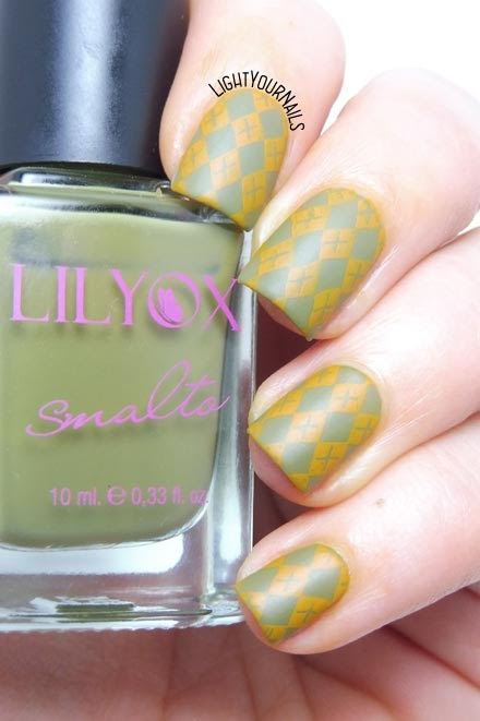 Fall argyle sweater stamping nail art feat. BeautyBigBang BBBXL-032 plate #nailart #beautybigbang #nails #lightyournails #unghie #stamping