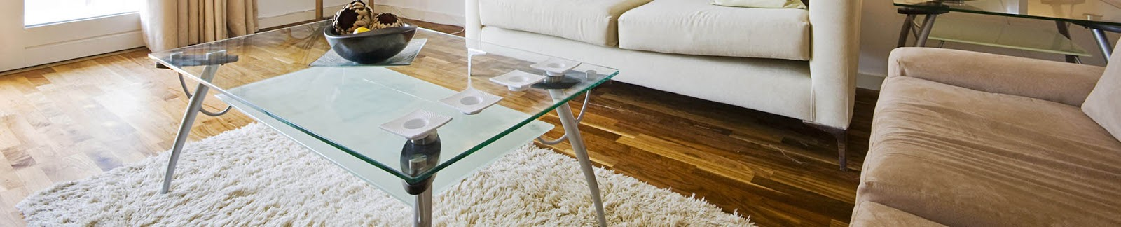 Glass table with steel legs