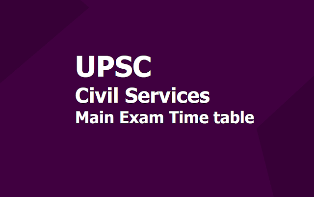 UPSC Civil Services Main Exam 2019 Time table Released