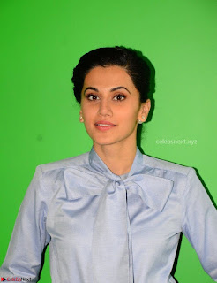 Taapsee Pannu in Light Blue Shirt and Black Top Promoing her movie Gaazi   February 2017 005.jpg