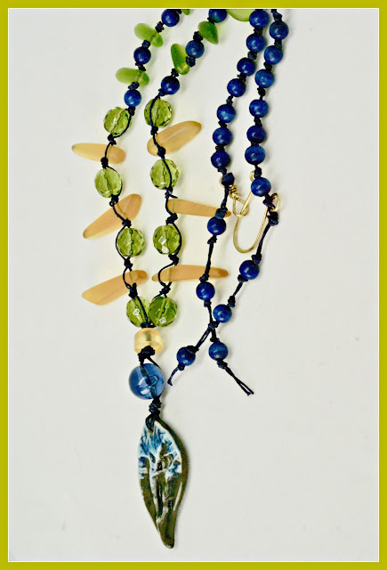 Navy Blue Ceramic Necklace by BayMoonDesign