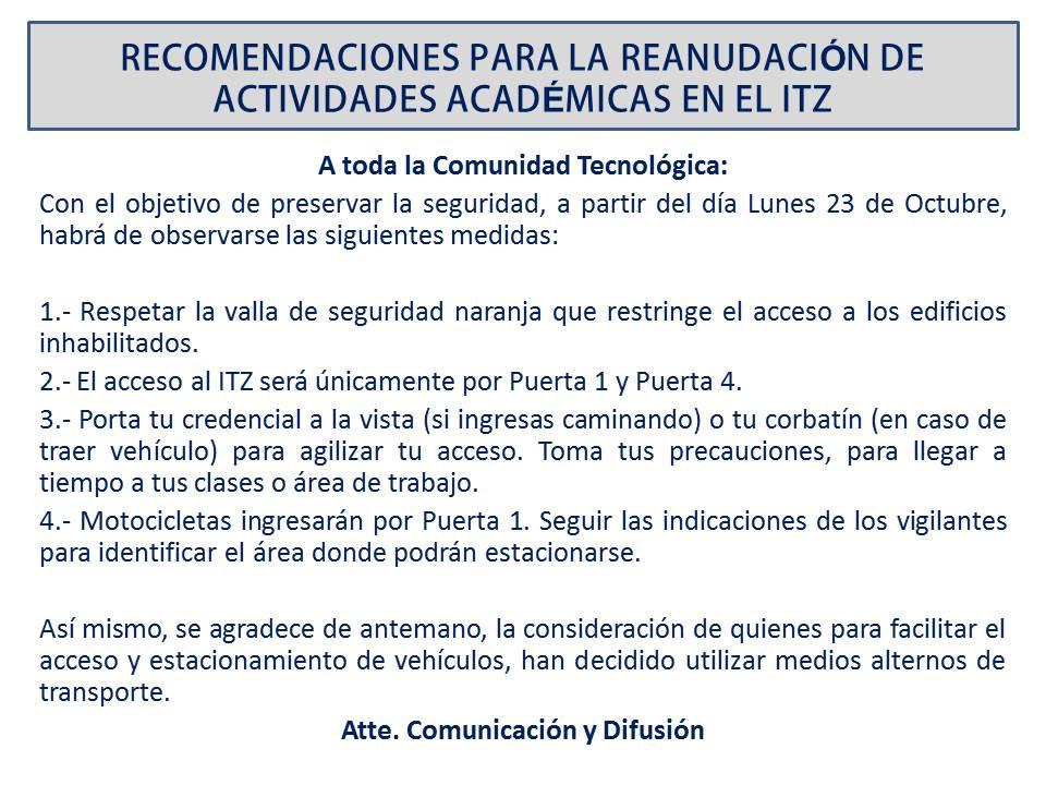 IT DE ZACATEPEC: • RECOMENDACIONES PARA LA REANUDACIÓN DE ...
