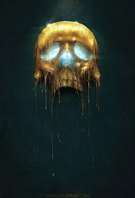 Imagen de calavera de oro derritiendose