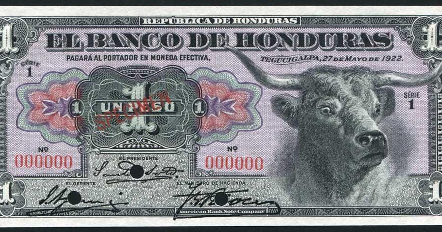 Honduras Old Currency 1 Peso Banknote Of 1922 Banco De