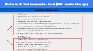 Menampilkan Daftar isi Artikel berdasarkan label (Pilih sendiri labelnya)