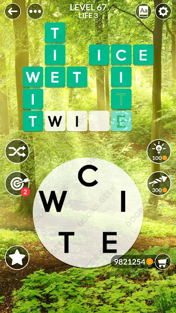 Wordscapes Level 67 answers, cheats, solution for android and ios devices.