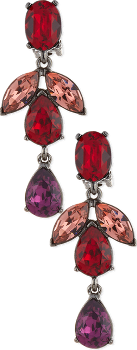 Oscar de la Renta Bold Crystal Teardrop Statement Earrings