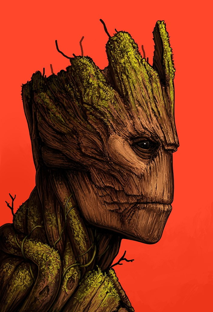 4ddb8a82d Guardians of the Galaxy Groot Marvel Portrait Print by Mike Mitchell x Mondo