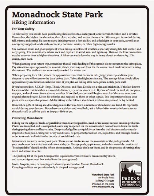 Información del Monadnock State Park (NH)