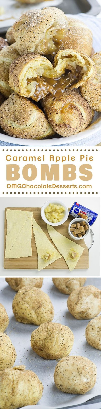 These awesome Caramel Apple Pie Bombs are the easiest dessert recipe (or at least Apple pie recipe) you've ever made and they are insanely GOOD! Snickerdoodle crescent rolls loaded with apple pie filling and caramel…WOW !!! I'm sure you are drooling right now over these yummy bombs!