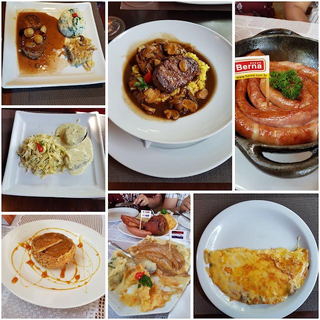 Diversos pratos dos restaurantes Casa Bela e Martin Holandesa - Holambra - pannekoeken, mostarda, cogumelos holandeses, linguiça, stroopwafel, queijo, gouda, gruyere