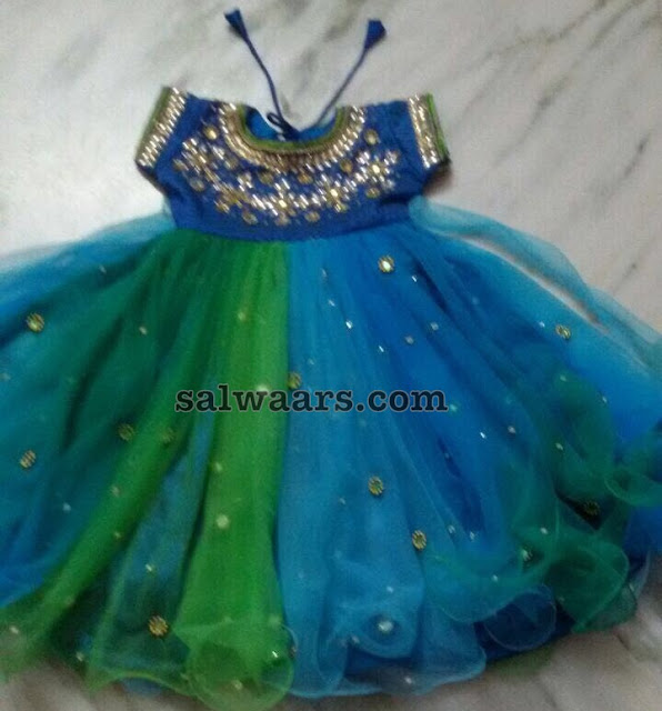 Peacock Theme Mirror Work Frock