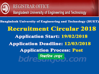 BUET Teacher Recruitment Circular 2018
