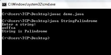 String Palindrome Program in Java