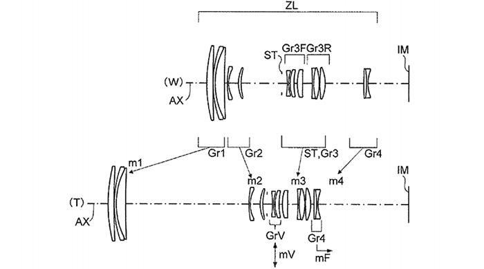 Патент на оптическую схему объектива 50-250mm f/4.5-5.8 для системы Micro 4/3