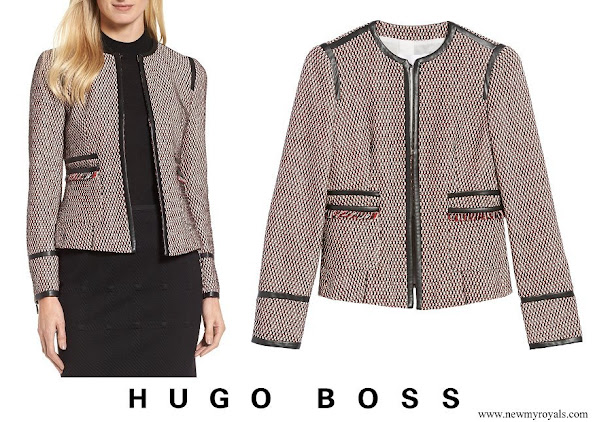 Queen Letizia wore Hugo Boss Keili Collarless Tweed Jacket