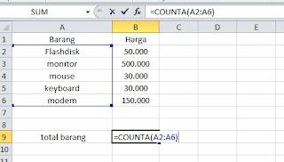 Contoh fungsi COUNTA microsoft excel