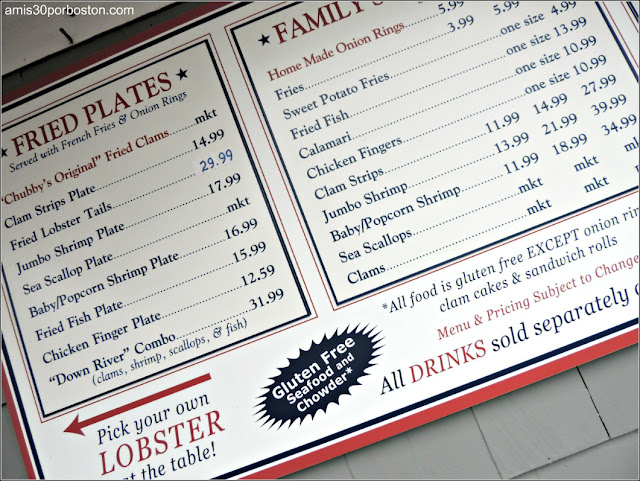 Lobster Shacks en Massachusetts: Menú del Woodman's of Essex