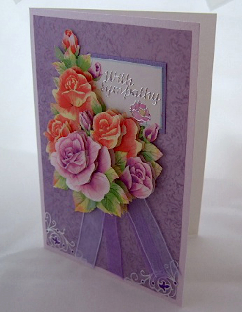 3d dimensional rose flower handmade greeting card lilac purple sympathy design