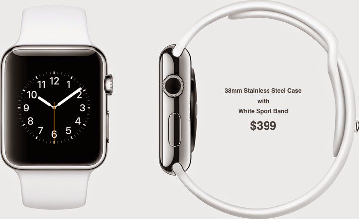38mm Stainless Steel Case with White Sport Band $399