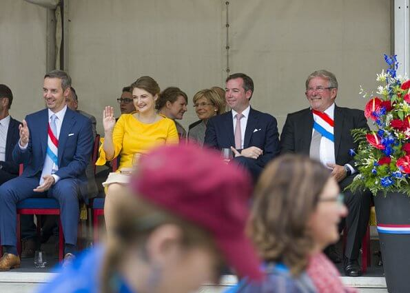 Luxembourg 2019 National Day celebrations. Grand Duke Henri and Grand Duchess Maria Teresa. Asos dress with bow sleeve in yellow