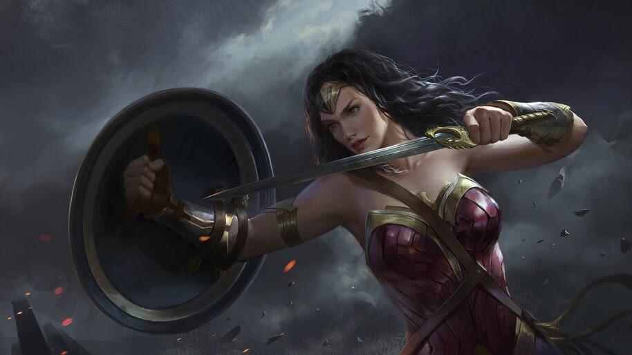 Wonder Woman, Sword, Shield, DC, Superhero, 4K, #6.1195